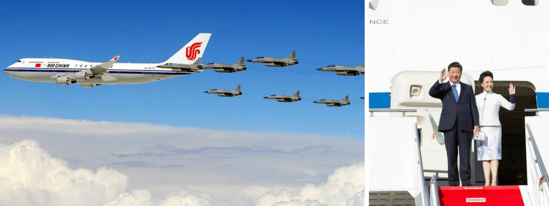 Los presidentes de China (en la foto Xi Jinping con su esposa) utilizan dos Boeing 747 de la aerolínea estatal Air China como medio de transporte