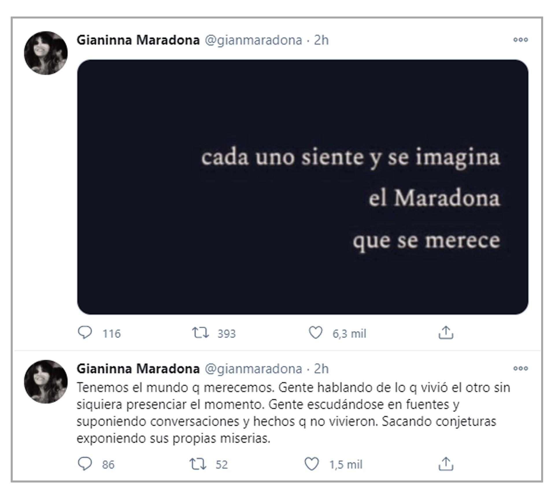 """Cada uno siente y se imagina el Maradona que se merece"""": fuertes mensajes  de Gianinna - Infobae"""