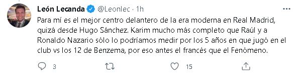 León Lecanda señaló a Benzema como el mejor delantero de la era moderna en Real Madrid (Foto: Captura Twitter)