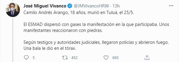 Foto: Twitter José Miguel Vivanco.