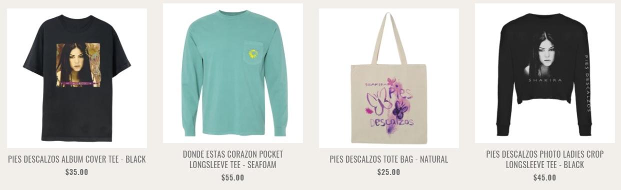 Camisetas, bolsos y gorros componen la colección conmemorativa de mercadería (Foto: Captura de pantalla shakira.com)