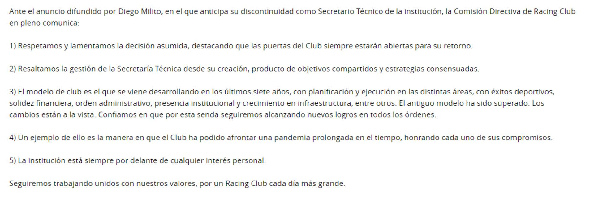 Comunicado de Racing en respuesta a Diego Milito