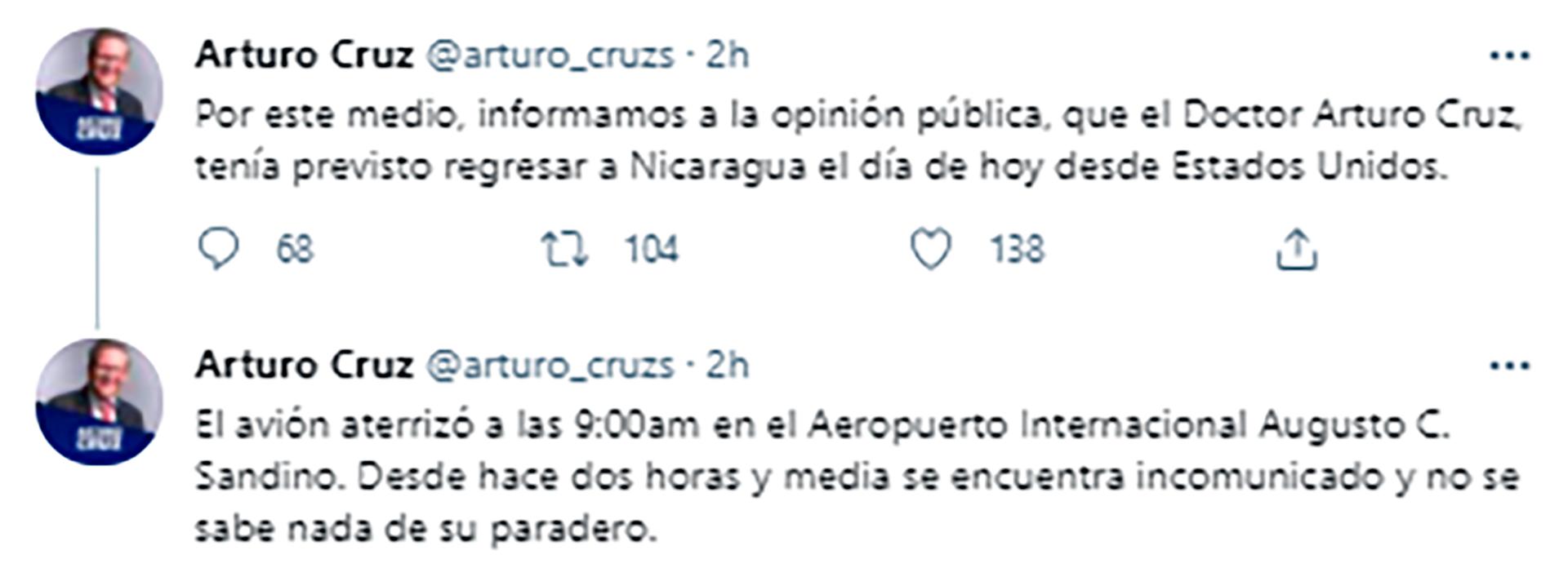 Los tuits del equipo de Arturo Cruz, ante su desaparición en el aeropuerto