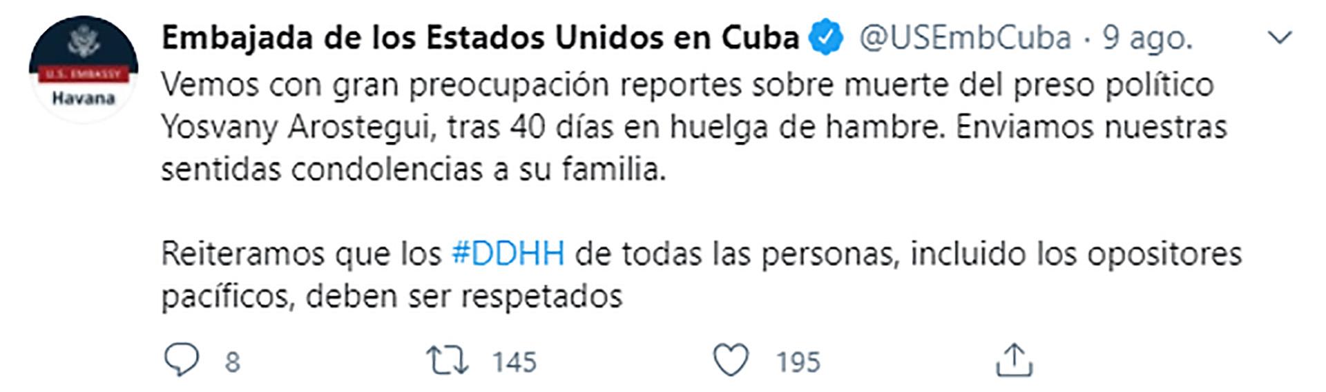 El tuit de la Embajada de EEUU
