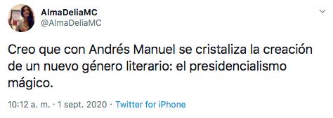 Así fue como Alma Delia Murillo ironizó en torno al segundo informe de gobierno. (Foto: Captura de pantalla)