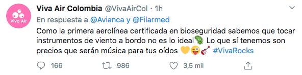 Foto: @VivaAirCol en Twitter