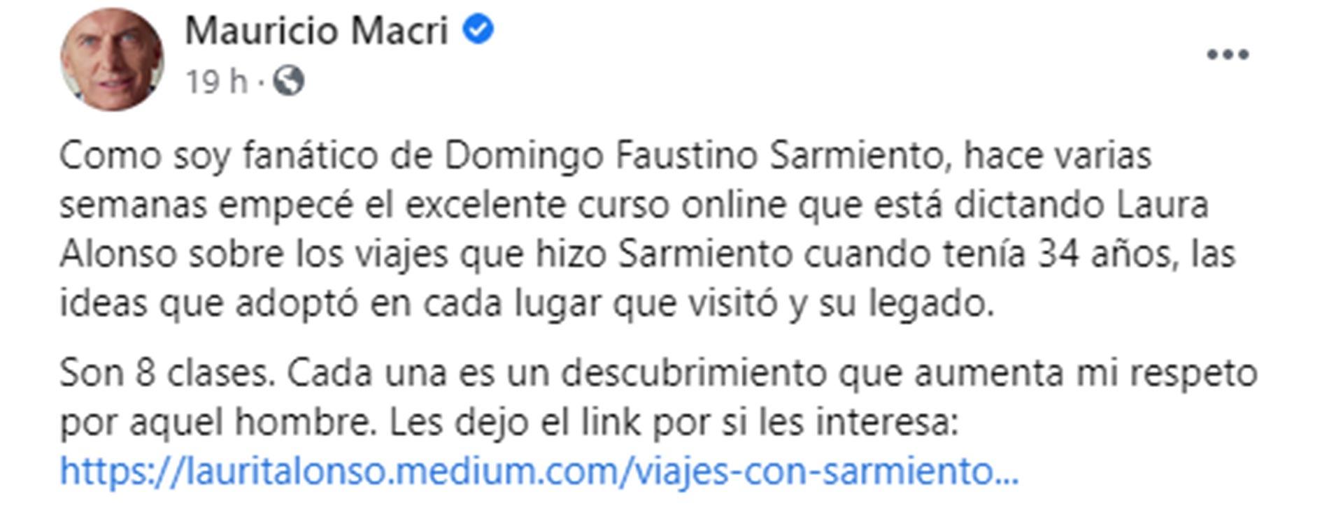 La publicación que hizo Mauricio Macri en su cuenta de Facebook