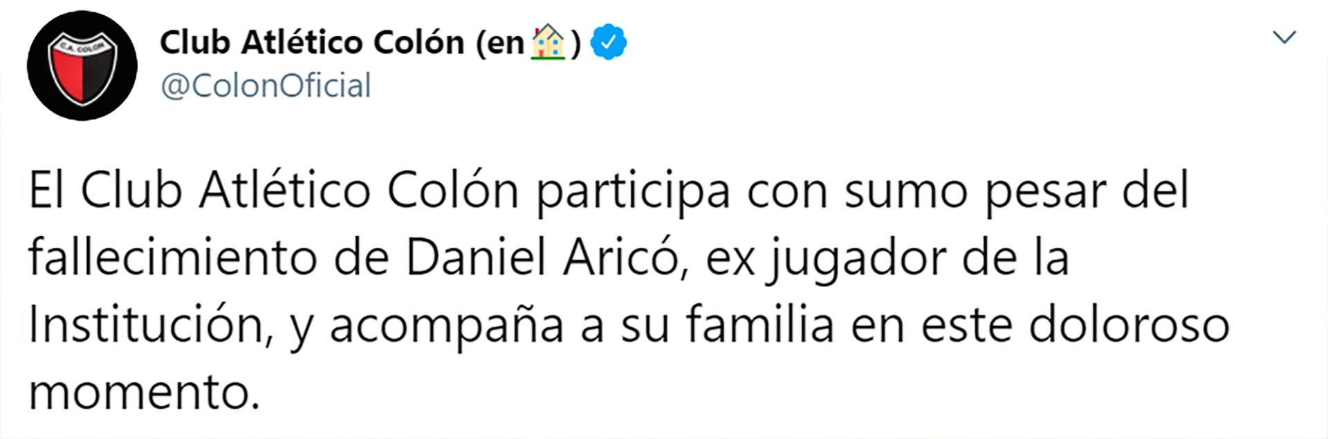 El mensaje de Colón por la muerte de Aricó