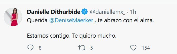 Danielle Dithurbide fue una de las periodistas en externar su pésame a Maerker (Foto: Captura de pantalla)
