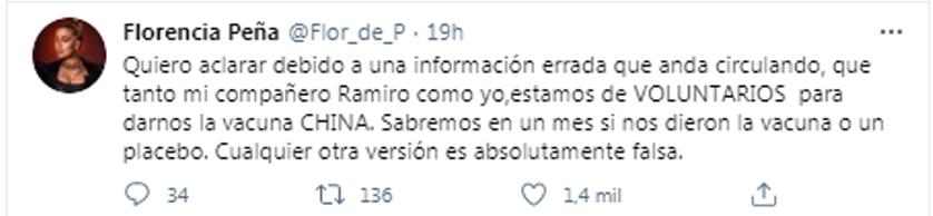 El mensaje de aclaración de Flor Peña