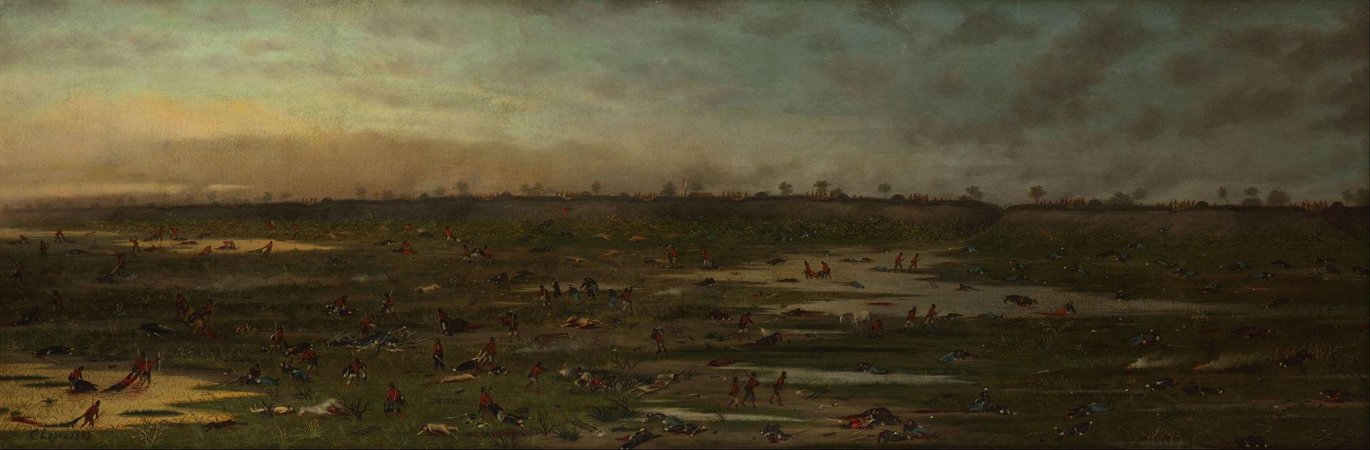 La batalla terminó y los soldados paraguayos despojan a los muertos de sus ropas y rematan a los heridos que no pueden ponerse en pie