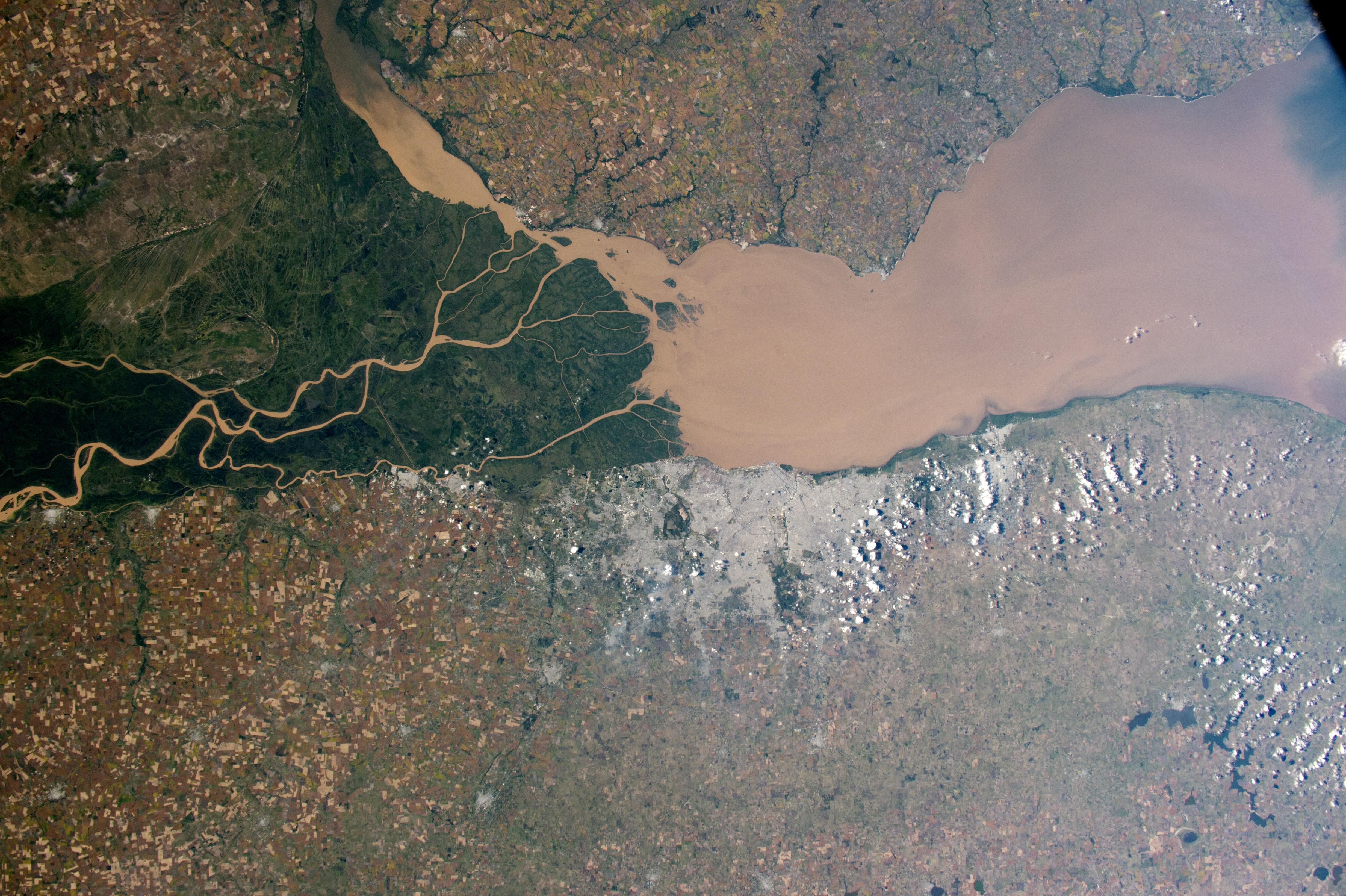 Delta y los pantanos verdes del río Paraná en la costa atlántica de Argentina