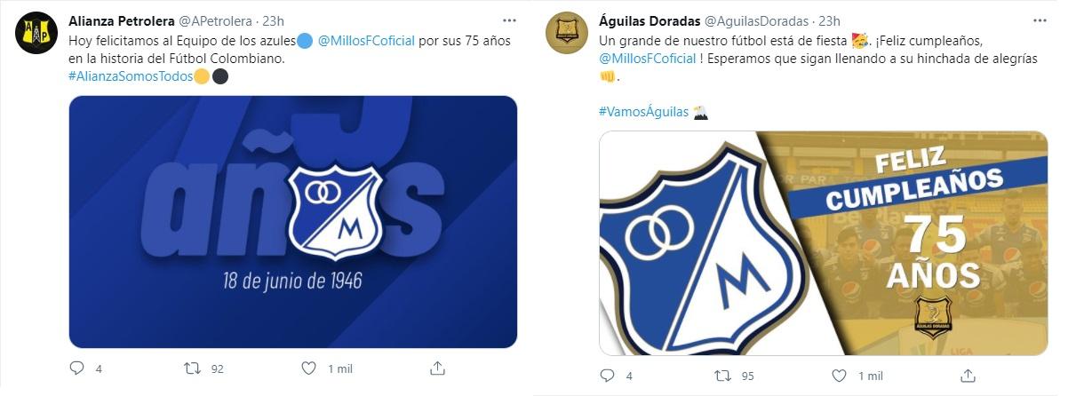 Foto: Twitter Alianza Petrolera y Águilas Doradas.