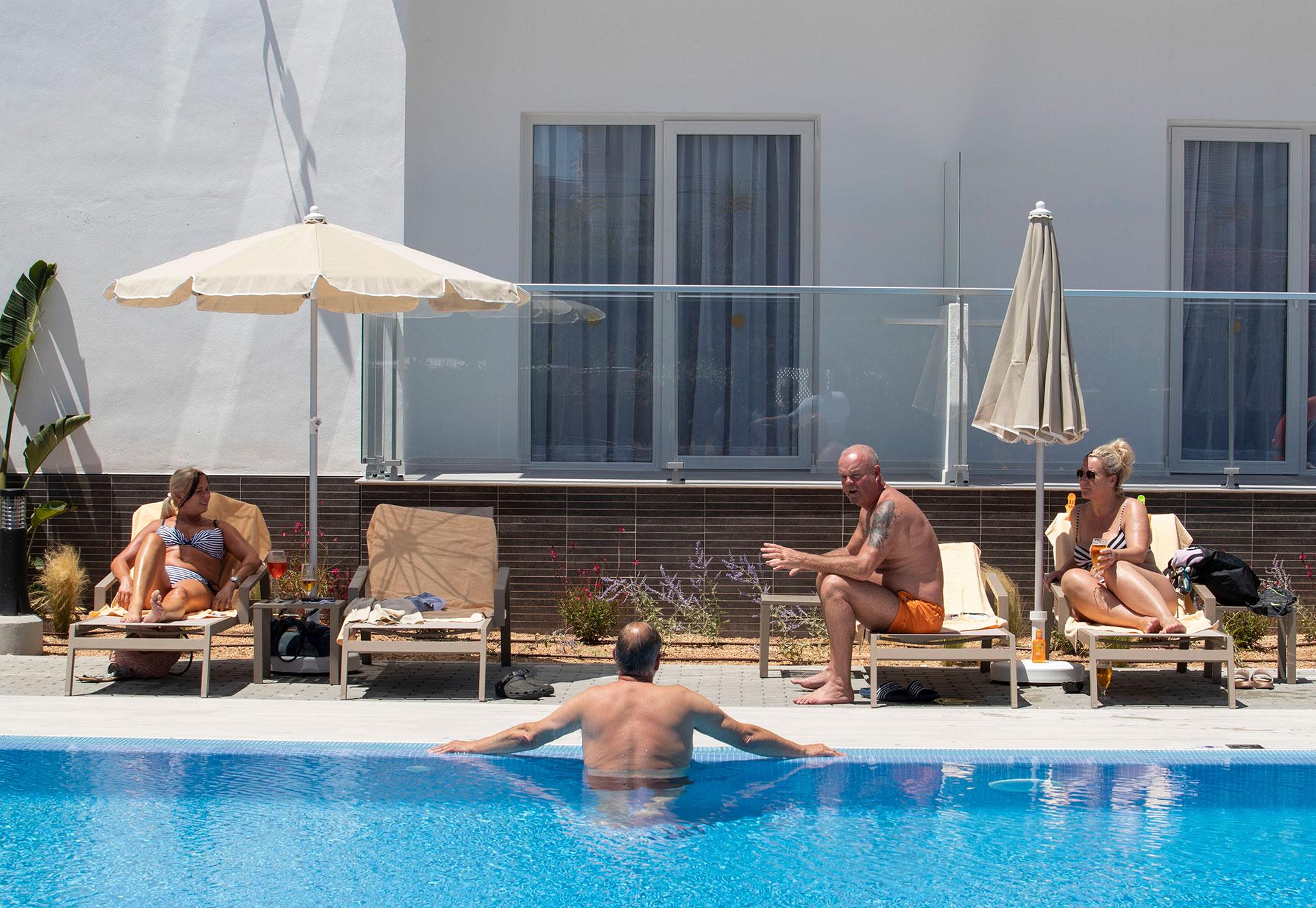 Turistas alemanes en el Hotel RIU Concordia de Palma de Mallorca