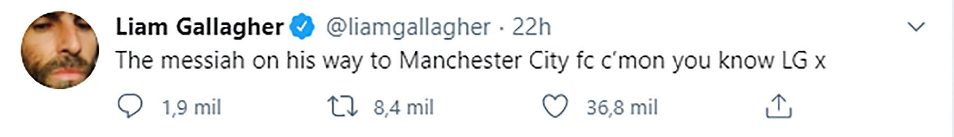 El mensaje de Liam Gallagher