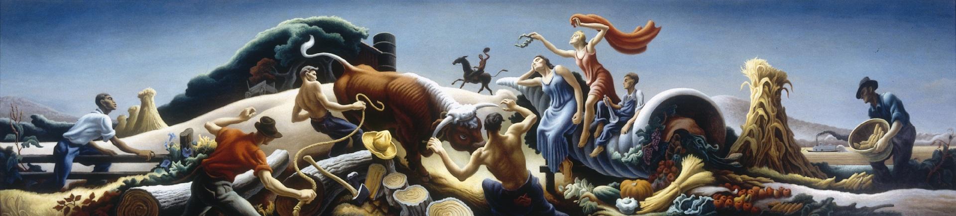 """""""Aqueloo y Hércules"""" (1974) de Thomas Hart Benton"""
