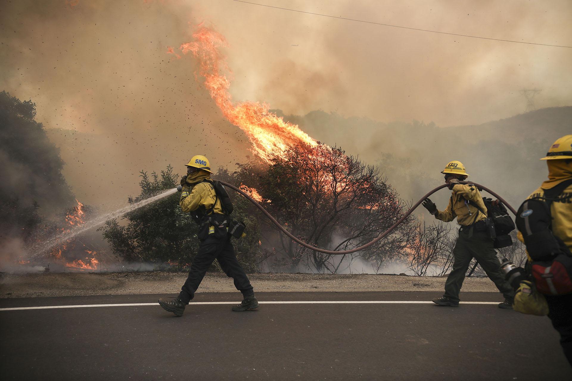Esta nueva oleada de incendios se suma a la declarada el fin de semana del 15 y 16 de agosto, cuando se produjo en gran parte del estado una tormenta eléctrica nada habitual en California en la que cayeron 10.800 rayos, pero apenas lluvia, lo que unido a una ola de calor y a la sequedad del terreno, propició que se iniciasen miles de fuegos. (SANDY HUFFAKER / AFP)