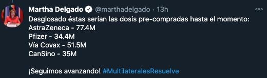 """AstraZeneca va a empezar a entregar más o menos en marzo o abril para México y va a estar entregando vacunas hasta seis meses después"", detalló Delgado."