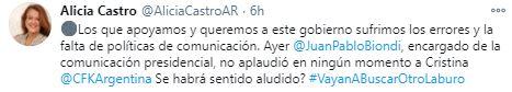 El mensaje de Alicia Castro contra el vocero presidencial