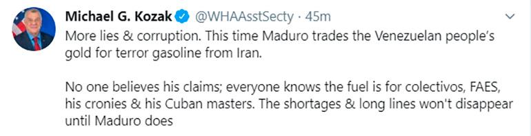 El tuit de Kozak este martes contra Irán y el chavismo