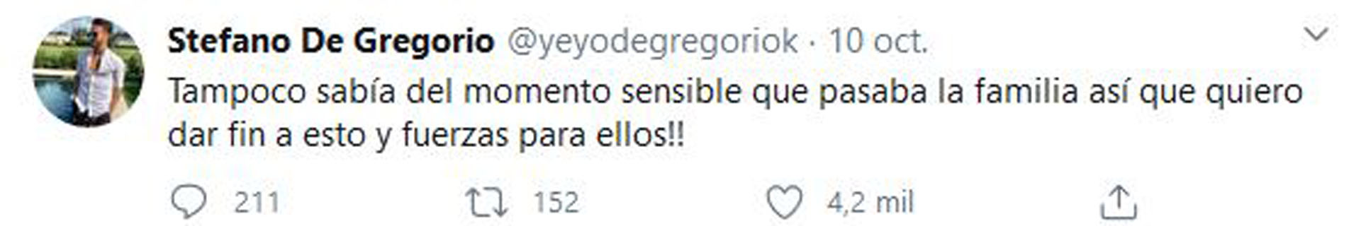 Los últimos mensajes que publicó Stéfano sobre el escándalo (Fotos: Twitter)