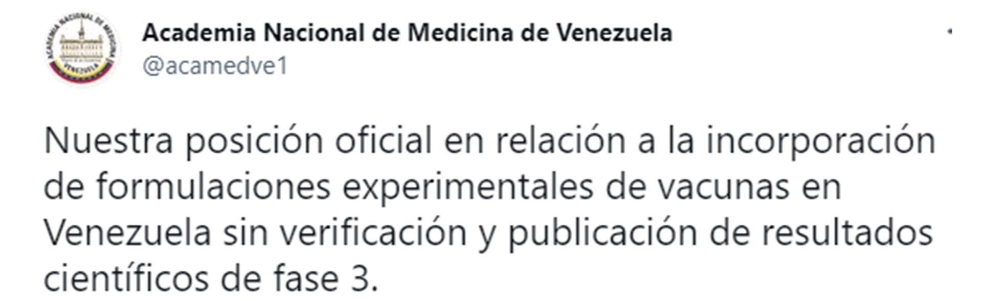 El tuit de la Academia Nacional de Medicina