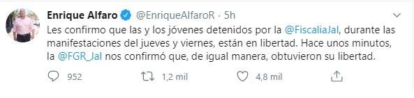 El gobernador de Jalisco informó que los detenidos fueron liberados (Foto: Twitter @EnriqueAlfaroR)