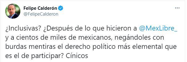 Felipe Calderón critico al TEPJF por no dejar registrar su propio partido político (Foto: Twitter / @FelipeCalderon)