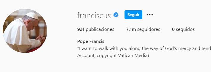 Papa Francisco (Foto: Instagram)