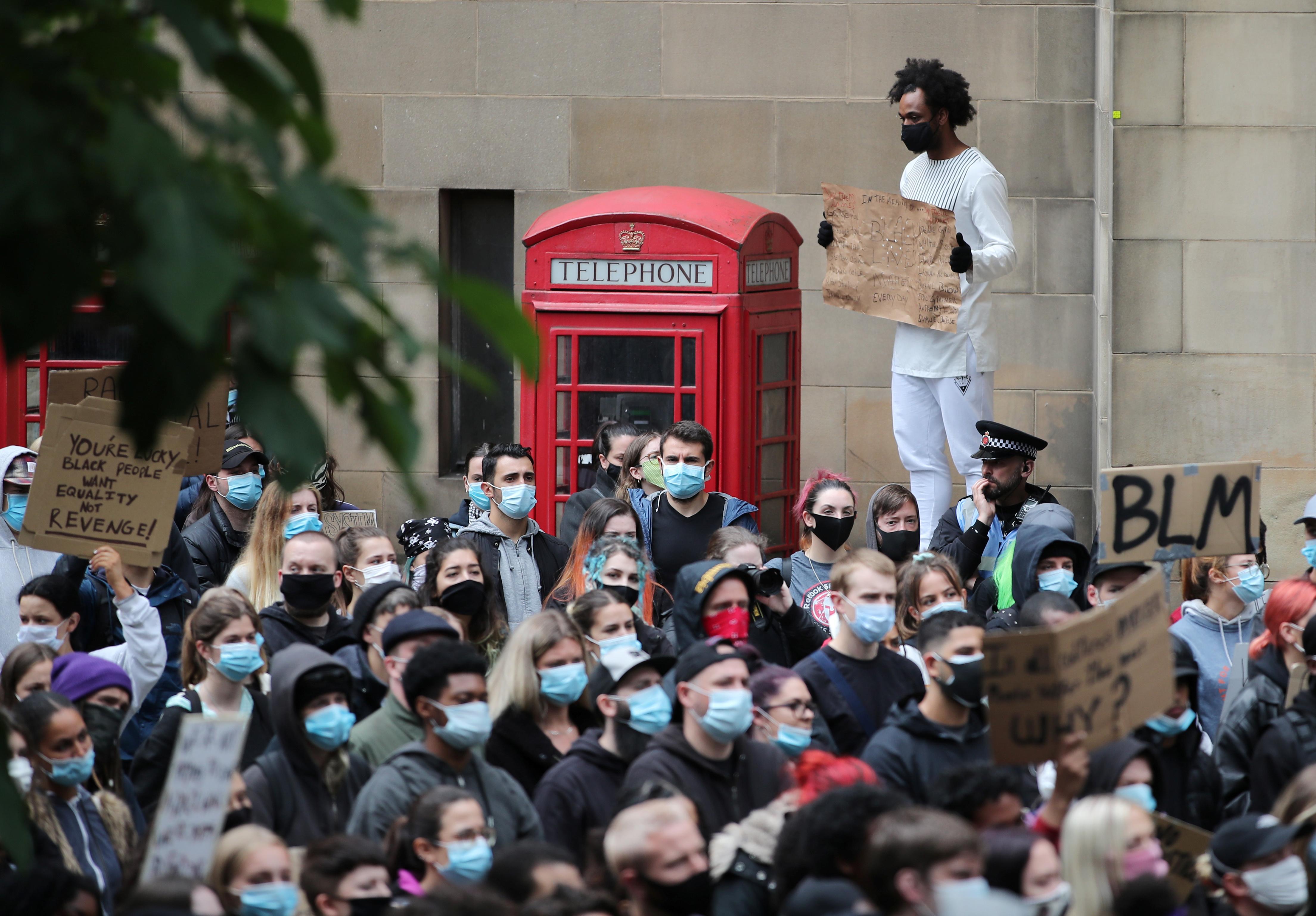 Protesta en Manchester, Reino Unido