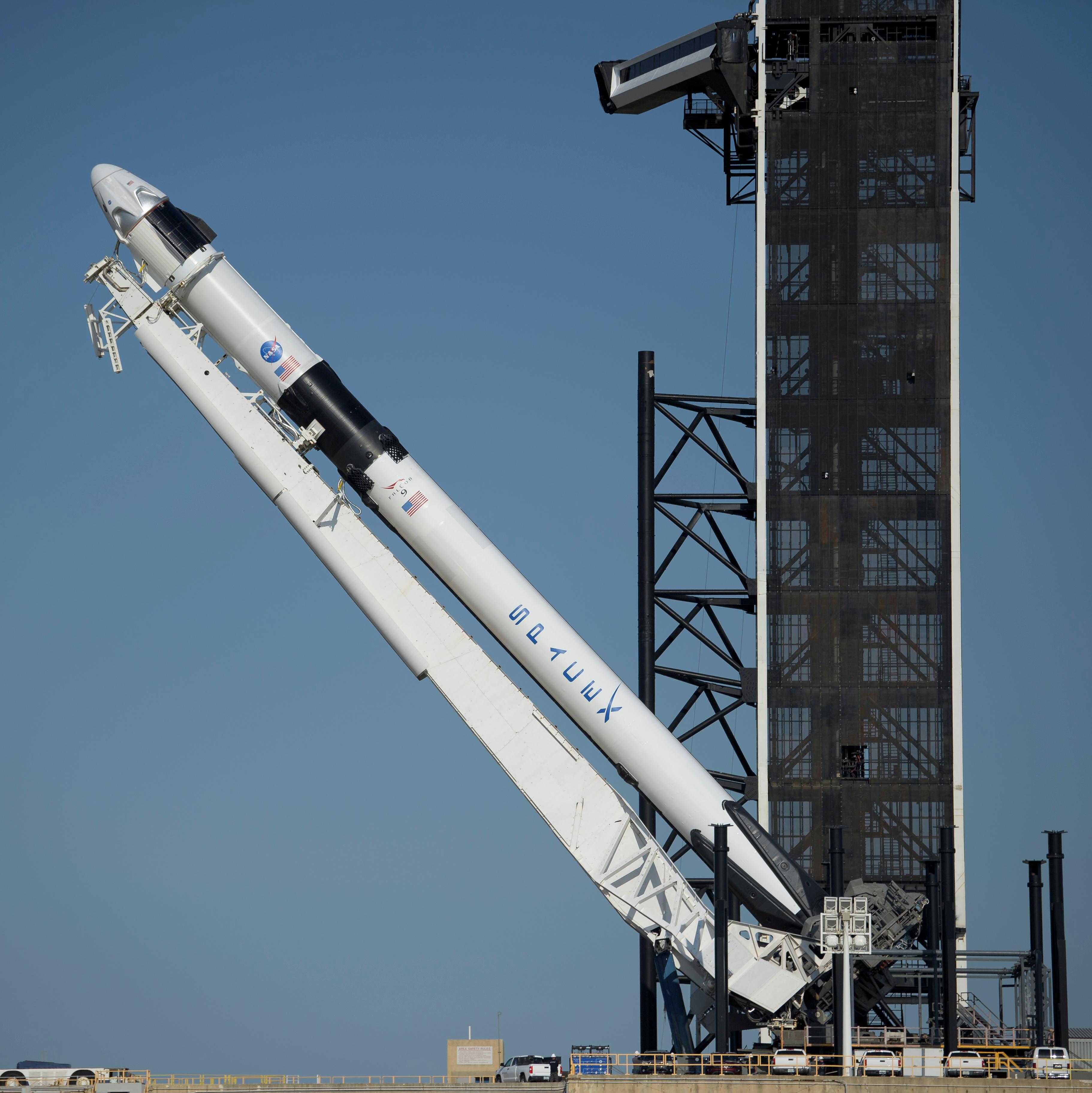 El cohete Falcon 9 de SpaceX y la capsula Crew Dragon (NASA/Bill Ingalls via REUTERS)