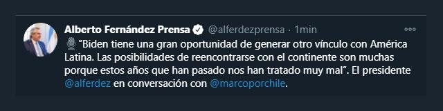 Tuit de Alberto Fernández opinando sobre Biden y Trump. (Twitter: @alferdezprensa)