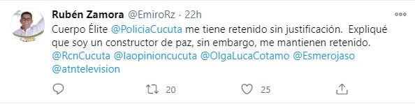 Twitter de Rubén Zamora, sobre su detención arbitraria por la Policía de Cúcuta. Foto: Twitter Rubén Zamora.