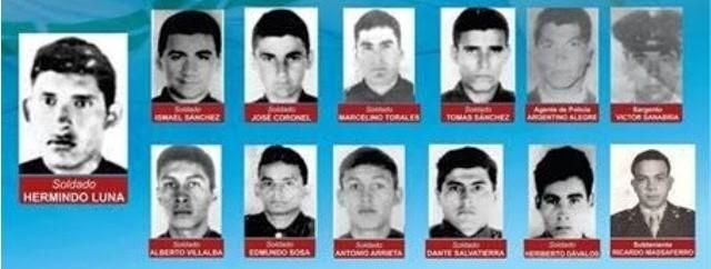 Los 13 caídos que murieron defendiendo el regimiento, esa tarde del 5 de octubre de 1975.