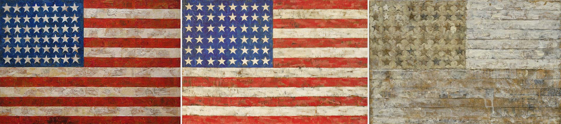 "A la izquierda, la ""Bandera"" de Jasper Johns. Luegos dos apropiacionesde de Elaine Sturtevant"