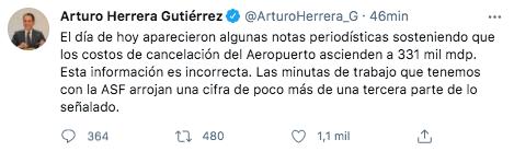 Arturo Herrera aseguró que las minutas de trabajo con la ASF han arrojado una cifra de poco más de una tercera parte de lo señalado (Foto: Twitter@ArturoHerrera_G)