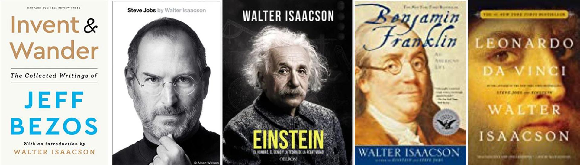 Algunas de las biografías que escribieron Isaacson, el entrevistador y el prólogo de Bezos