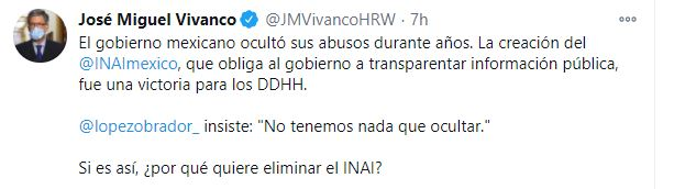 Presidente de HRW de América cuestionó a AMLO (Foto: HRW)