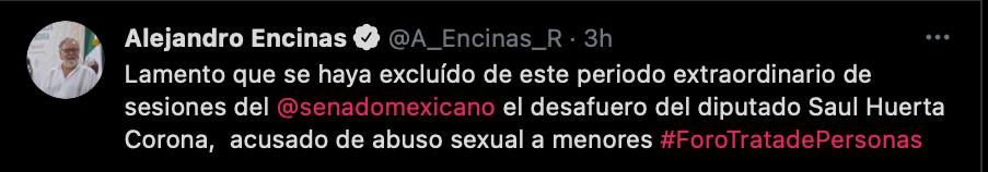 Alejandro Encinas se mostró molesto con los legisladores de Morena por no privilegiar un tema tan sensible ante la ciudadanía (Foto: captura de pantalla de Twitter @A_Encinas_R)