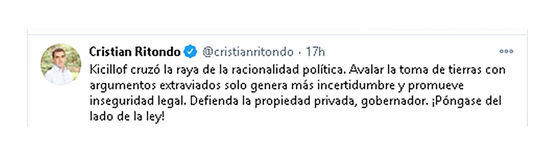 Desde su cuenta de Twitter el Diputado Nacional por la Provincia de Buenos Aires y Presidente del bloque PRO instó al Gobernador Bonaerense a ponerse del lado de ley.
