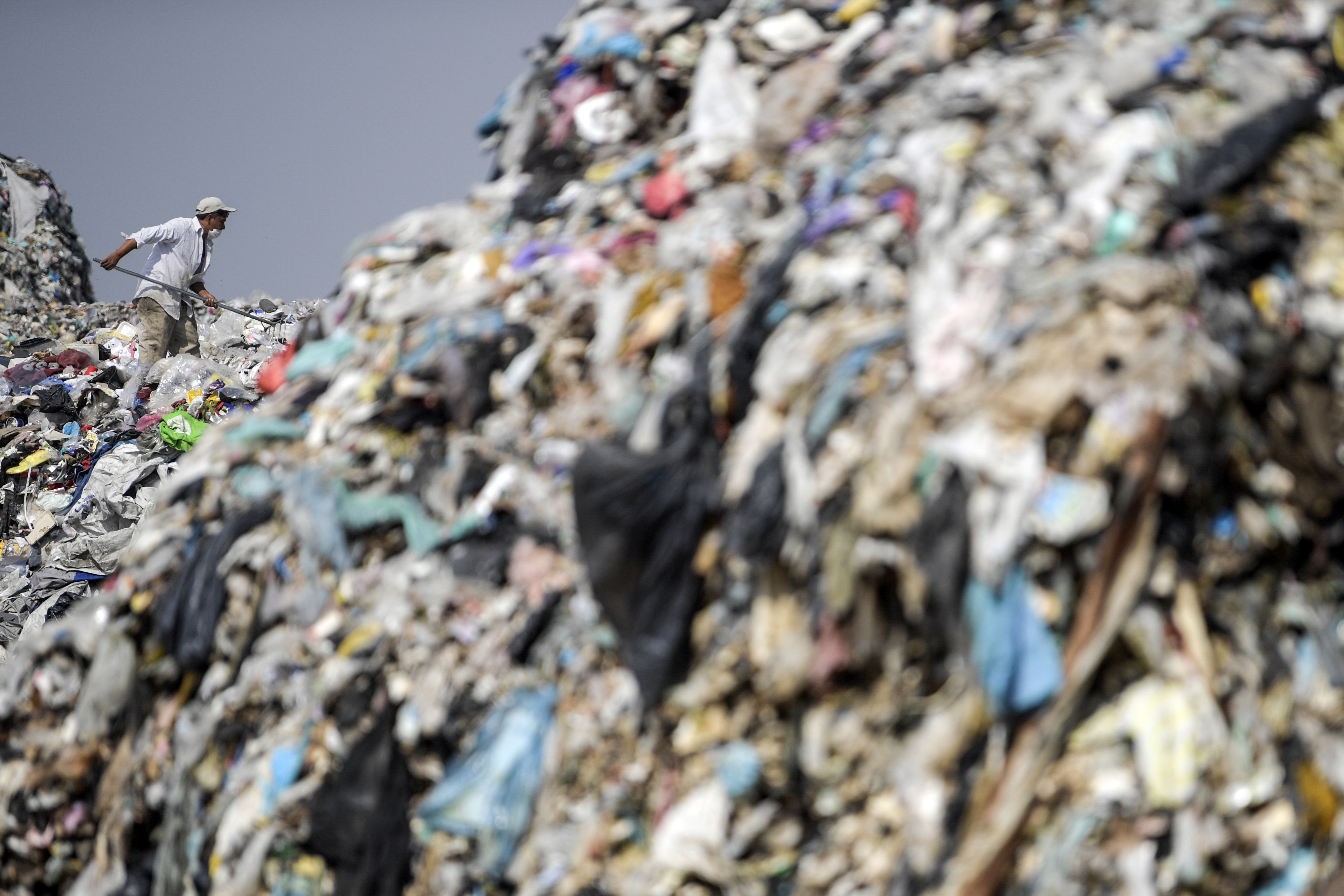 Un hombre clasifica los desechos en el basurero
