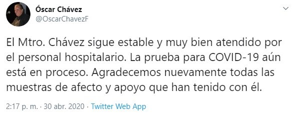 Twit Óscar Chávez (Foto: Twitter@OscarChavezF)