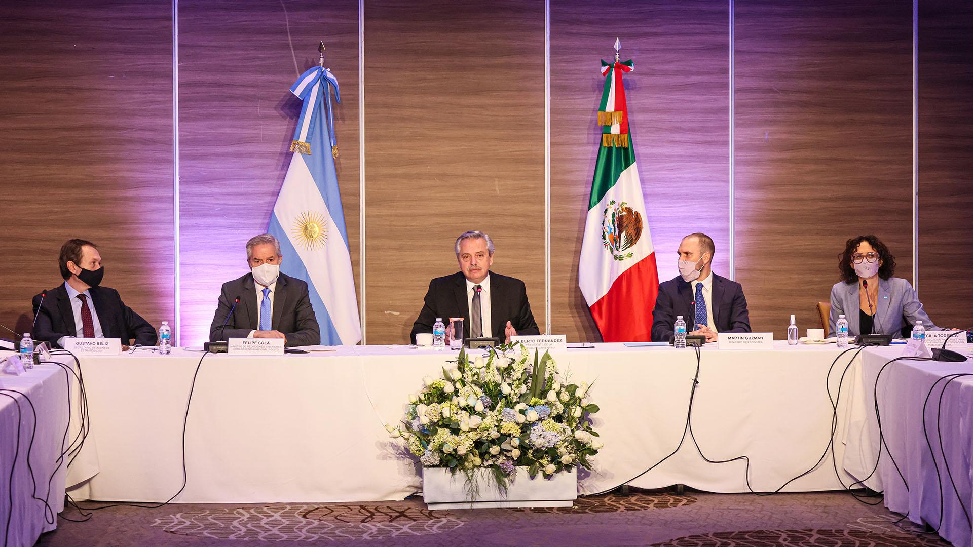 El presidente Alberto Fernández se reunió con empresarios en México. 22 de febrero de 2021.
