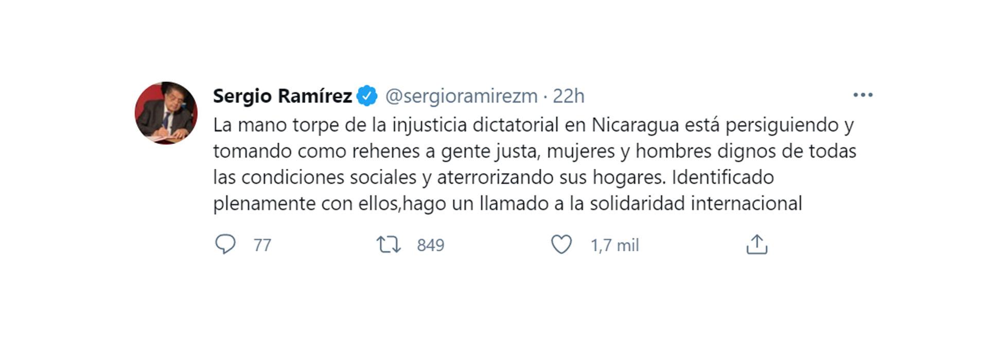 El tuit de Sergio Ramírez