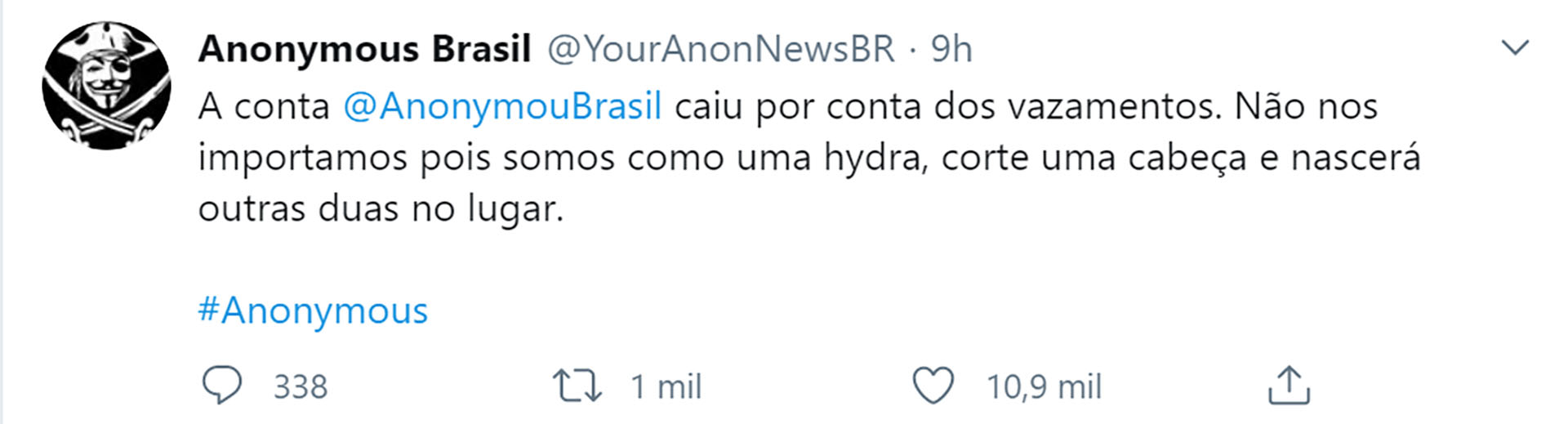 Anonymous Brasil desafió con seguir publicando informaciones