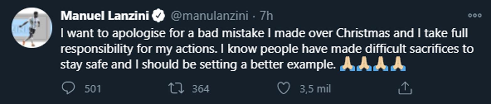 El pedido de disculpas de Lanzini