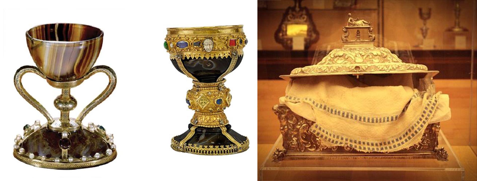 Cáliz de la última cena. El de Valencia, izquierda. El de León, derecha. Y el Mantel de la última cena en la Catedral de Coria, Cáceres, España