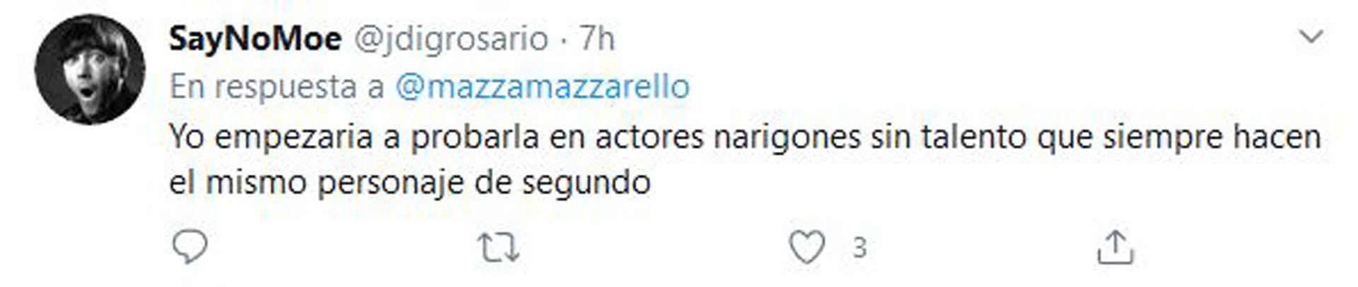 Algunos de los comentarios -a favor y en contra- que despertó el mensaje de Mazzarello (Fotos: Twitter)