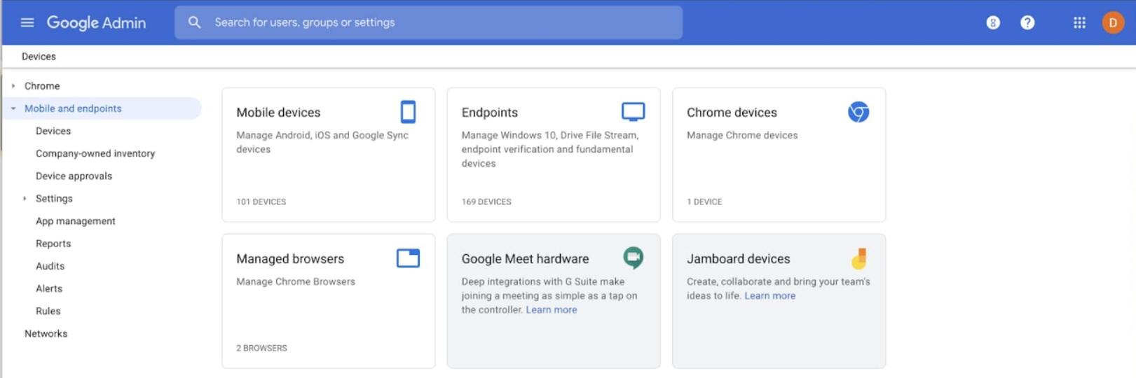 Se rediseñó la página de dispositivos en la consola de administración de G Suite (Google).