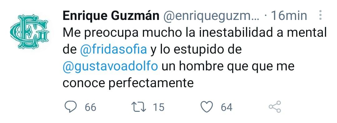 A través de su cuenta de Twitter, Enrique Guzmán reiteró su preocupación por la salud emocional de su nieta y descalificó al periodista Gustavo Adolfo. (Foto: Twitter @enriqueguzman)